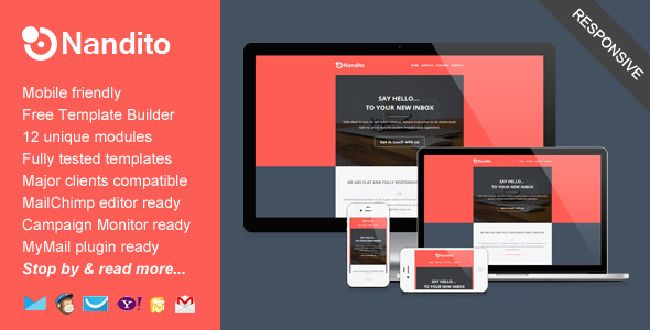 35 best responsive email templates 2015 nandito flat responsive email template pronofoot35fo Image collections