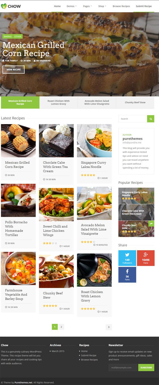 40 best food and recipe wordpress themes 2016 designmaz chow recipe food wordpress theme forumfinder Gallery