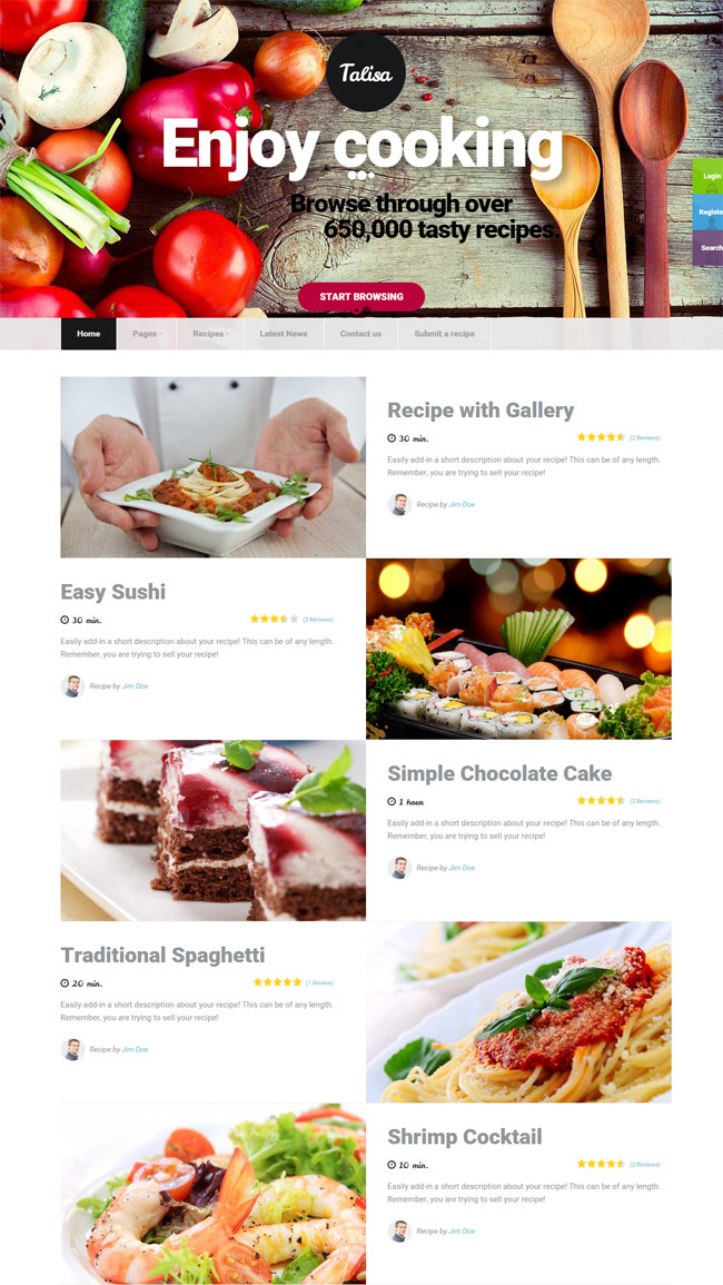 40 best food and recipe wordpress themes 2016 designmaz talisa food recipes wordpress theme forumfinder Gallery
