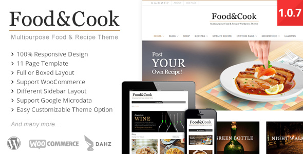 40 best food and recipe wordpress themes 2016 designmaz food cook multipurpose food recipe wp theme forumfinder Gallery