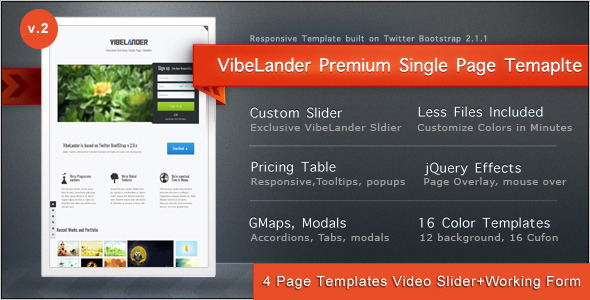 45 best responsive landing page templates designmaz vibelander one page responsive template pronofoot35fo Images