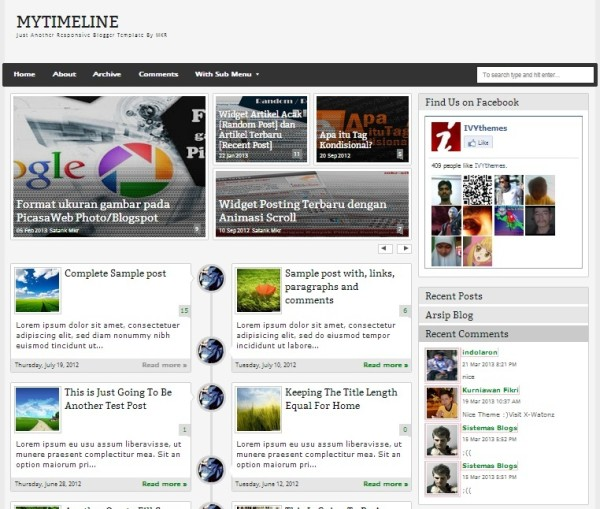 Free Responsive Blogger Templates Free Download - Timeline blogger template