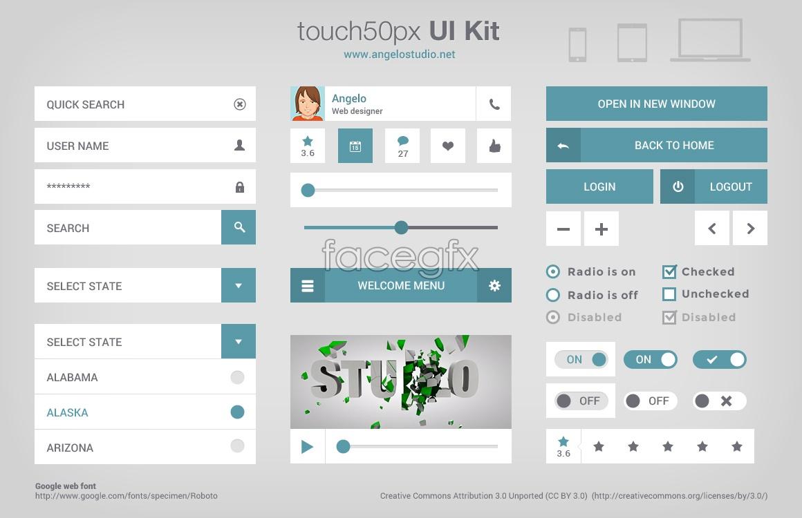 55+ Best Free PSD Flat UI Kits - DesignMaz