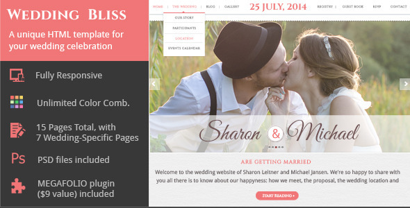 one page wedding website template