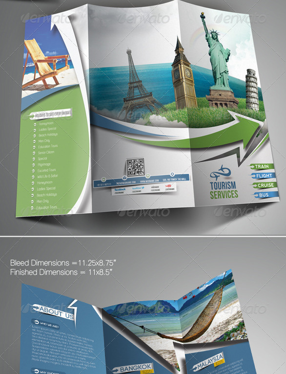 40 best travel and tourist brochure design templates 2018 for Travel brochures templates