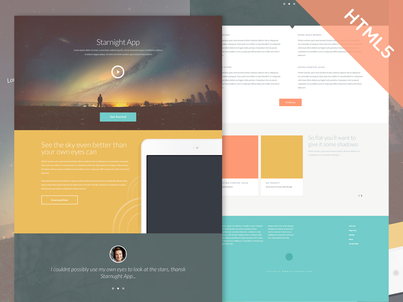 Starnight Free Responsive Html One Page Template Free