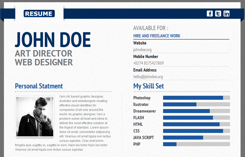 30 best resume cv html templates for personal business card aurel cv resume is a html template that will help you set up a professional online cv in minutes with a choice of two colors orange and blue yelopaper Image collections