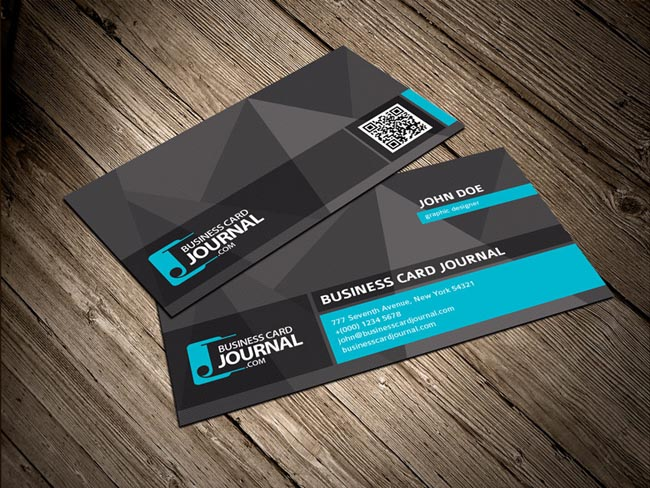 55 free creative business card templates designmaz cool unique business card template with qr code reheart Images