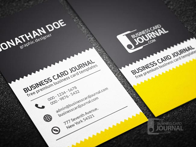 55 free creative business card templates designmaz an exquisite design featuring zigzag pattern as the main focal point of this creative business card template the combination of black white and a touch reheart Gallery