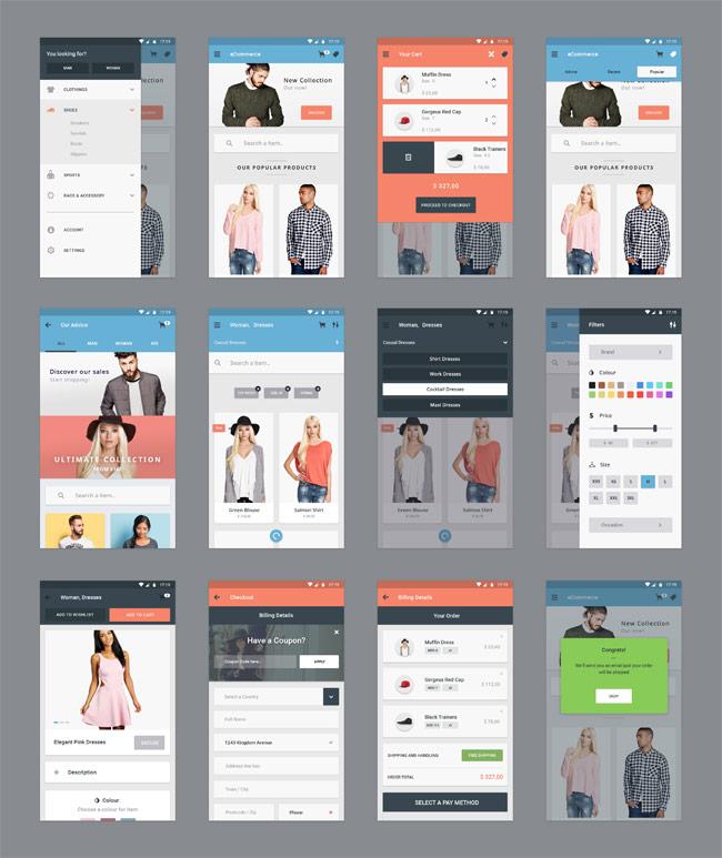 Material Design eCommerce App UI Kit PSD | Free download