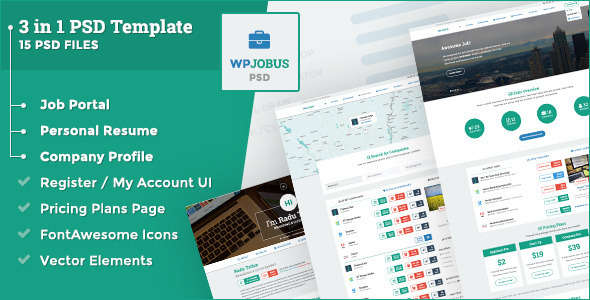 WPJobus Is A 3 In 1 Professional Job Portal, Resume U0026 Company Profile PSD  Template  Professional Business Profile Template