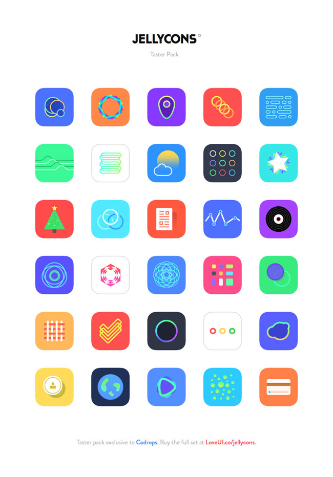 Jellycons: iOS 8 App Icon Set (PNG, Sketch)   Free download