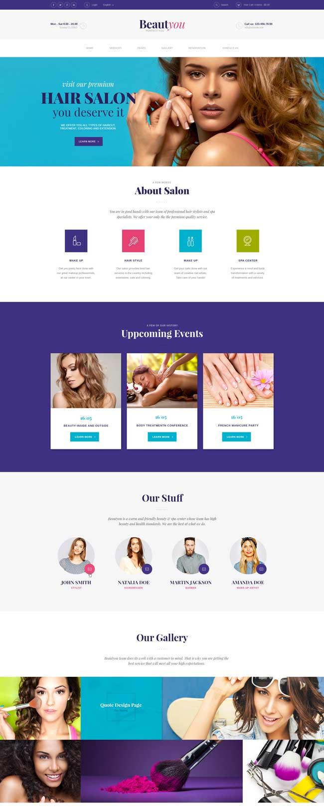 30 best spa beauty salon wordpress themes 2017 designmaz for A fresh start beauty salon