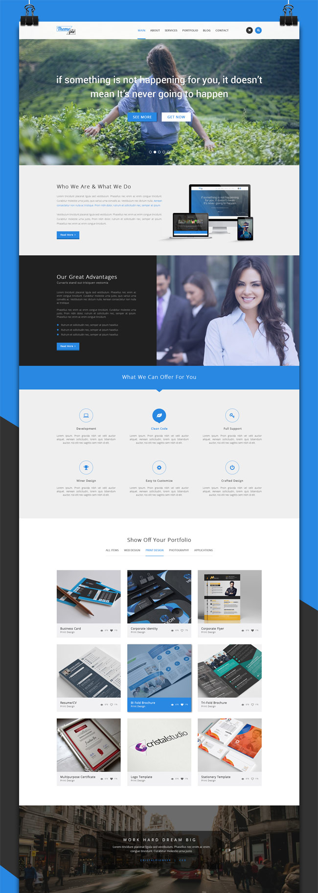 30 free psd portfolio website templates designmaz themepie is a free corporate portfolio psd website template all these free psd website templates can be used for personal or commercial use pronofoot35fo Image collections