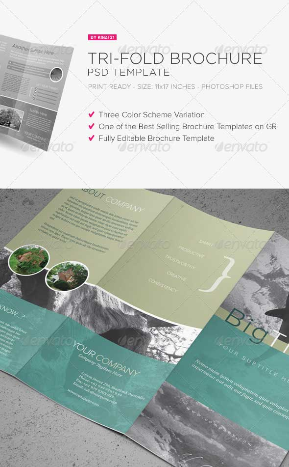 30 best premium printed brochure templates designmaz for Tri fold brochure template psd