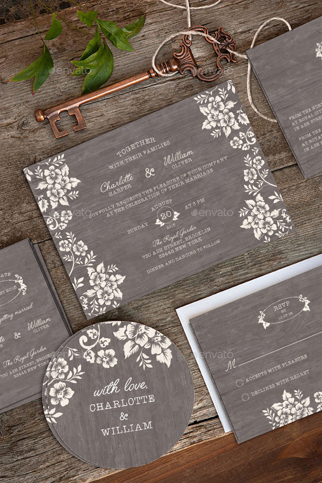 40 best wedding invitation psd templates designmaz wedding invitation package psd stopboris Image collections