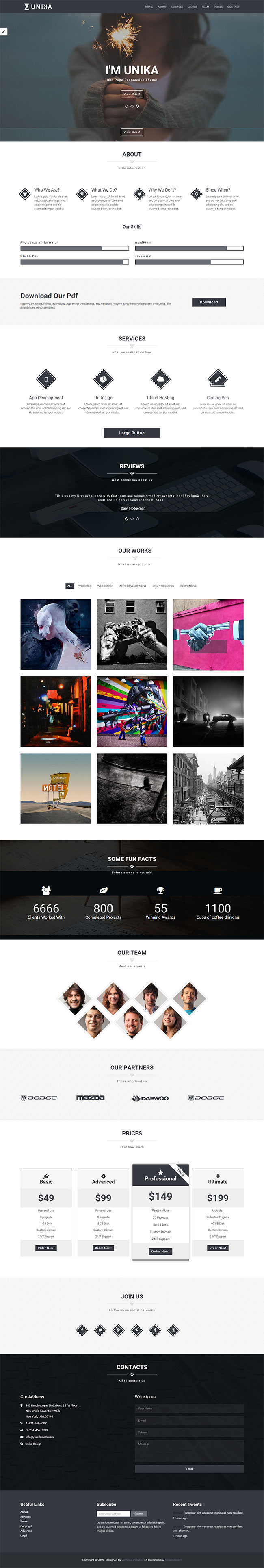 Html5 Css3 Templates | Unika Free HTML5 CSS3 One Page HTML5 Template