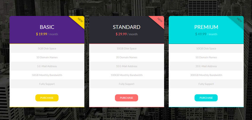 15 best free html5 css3 pricing tables templates 2016 for Html5 table tag