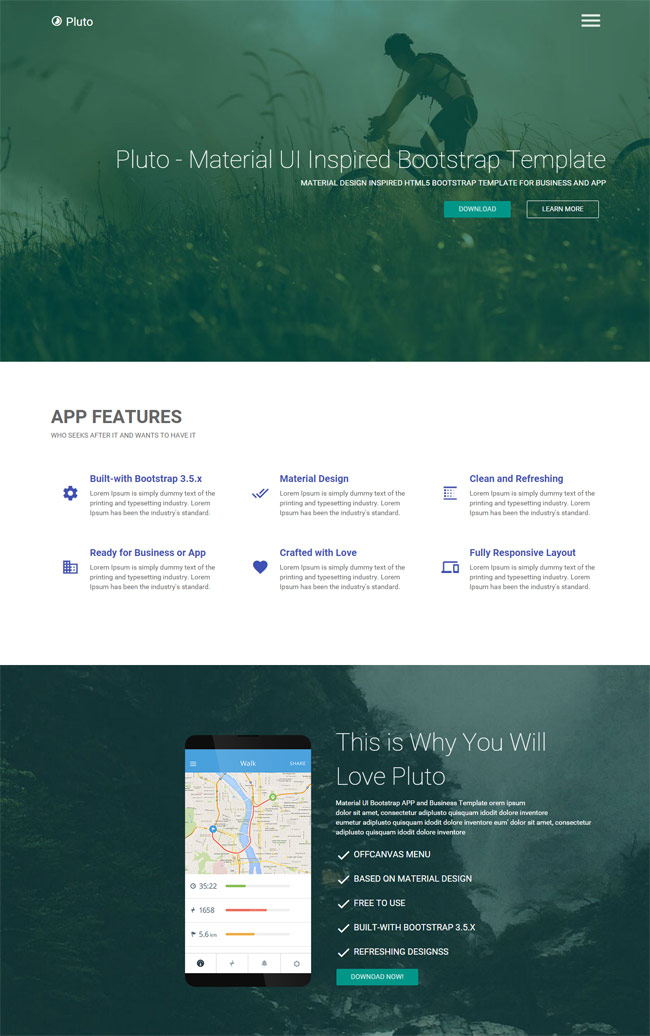 pluto material design html app landing page - Free Html Pages