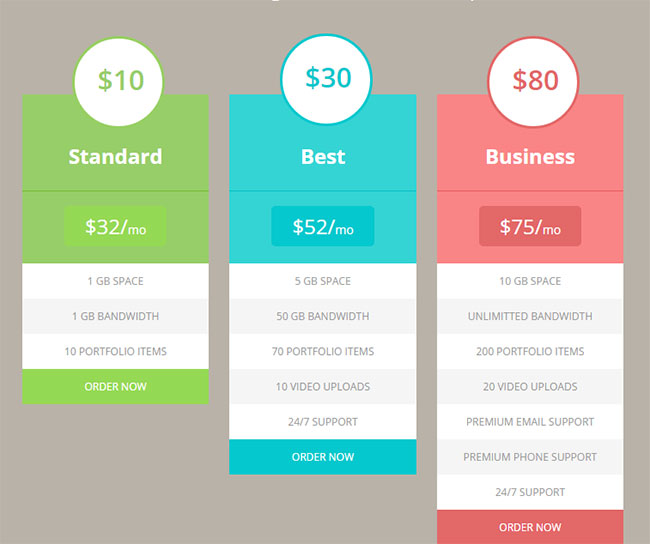15 best free html5 css3 pricing tables templates 2016 for Table website