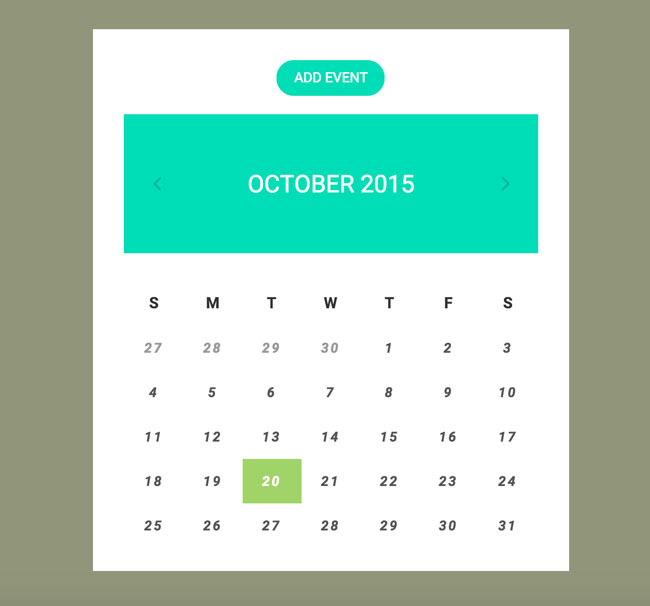 Monthly Calendar Using Javascript : Best free html css calendar widgets designmaz