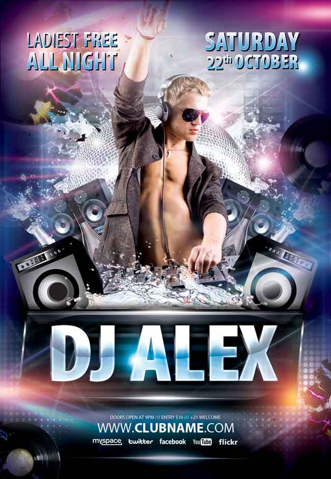 Free Dj Alex PSD Flyer