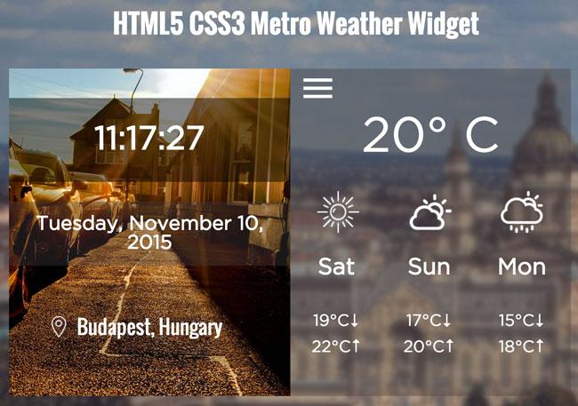 Free Html5 Css3 Metro Weather Widget