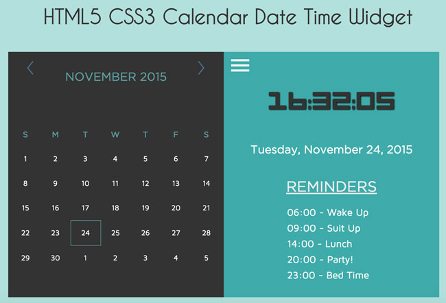 HTML5 CSS3 and jQuery Calendar Date Time Widget | Free download