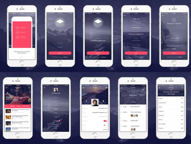 Free Modern and Clean iOS App UI Kit PSD | Free download