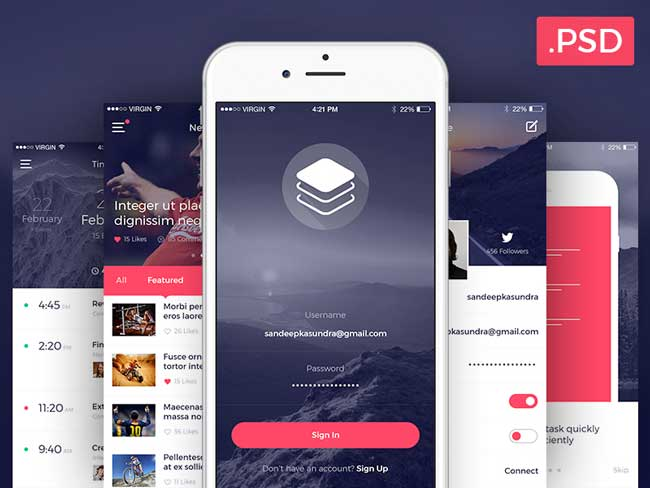 50 best free mobile app ui kits psd designmaz for App design online