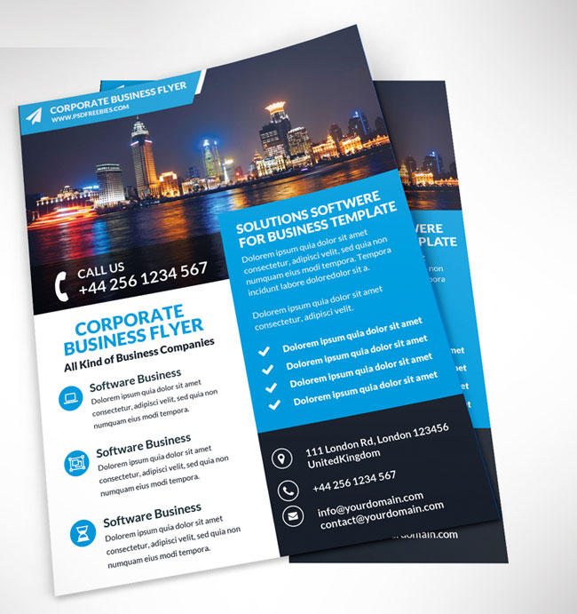 Free Corporate Business Flyer PSD Template  Business Pamphlet Templates Free