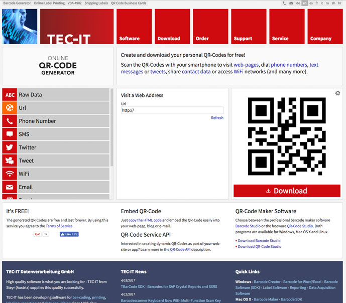 10 best free online qr code generator 2018 designmaz you can use this tool to create qr codes for urls web pages phone calls emails text messages tweets vcardmecard electronic business cards reheart Image collections
