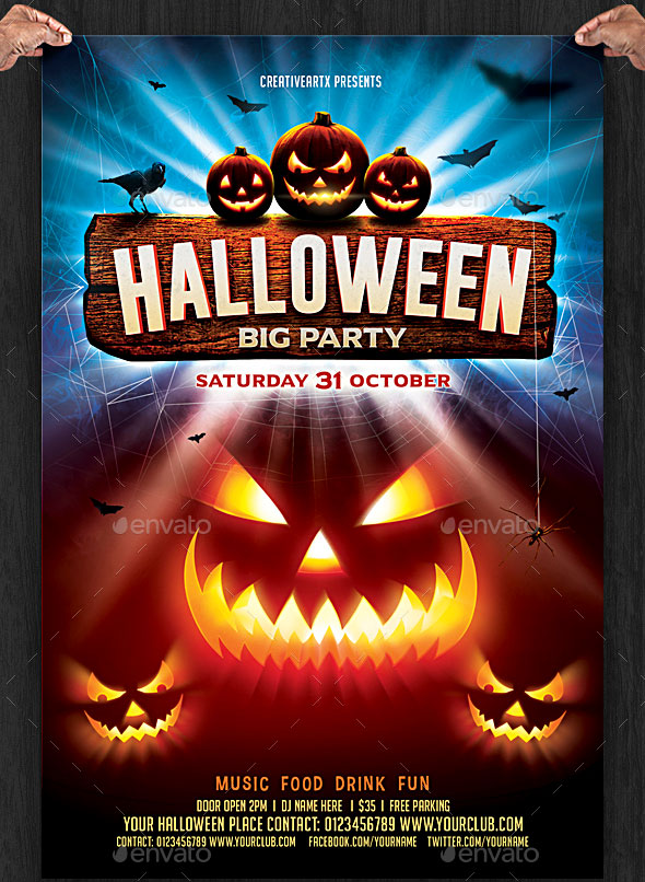 A Trending Halloween Party Flyer Template For 2016, Package Fully Layered  In 1 .PSD File And Fully Editable With Adobe Photoshop.