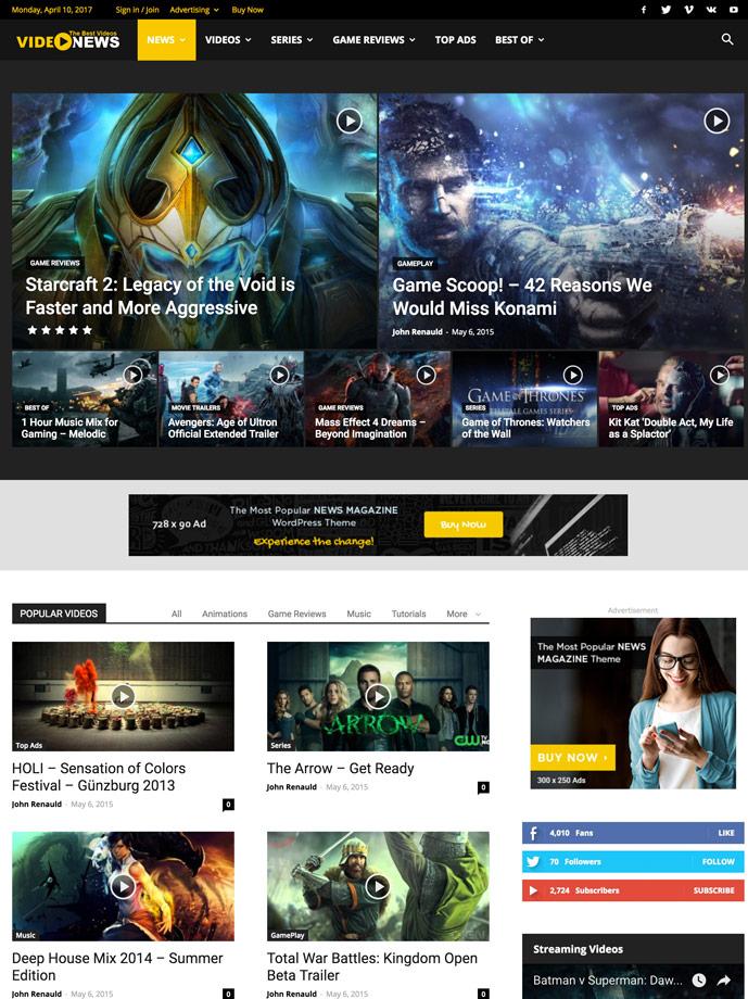 25+ Best Responsive TV, Movie and Video Blogging Wordpress