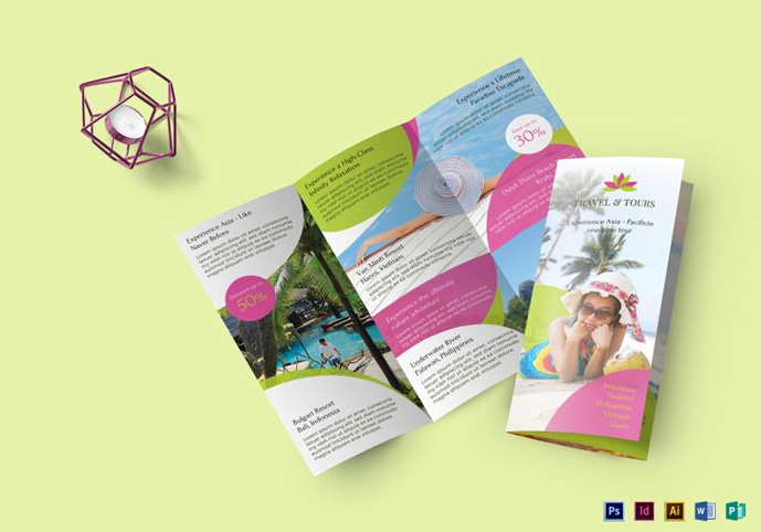 Best Travel And Tourist Brochure Design Templates Designmaz - Bi fold brochure template publisher